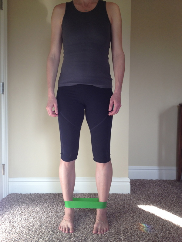 Side step with monster band for gluteal strengthening